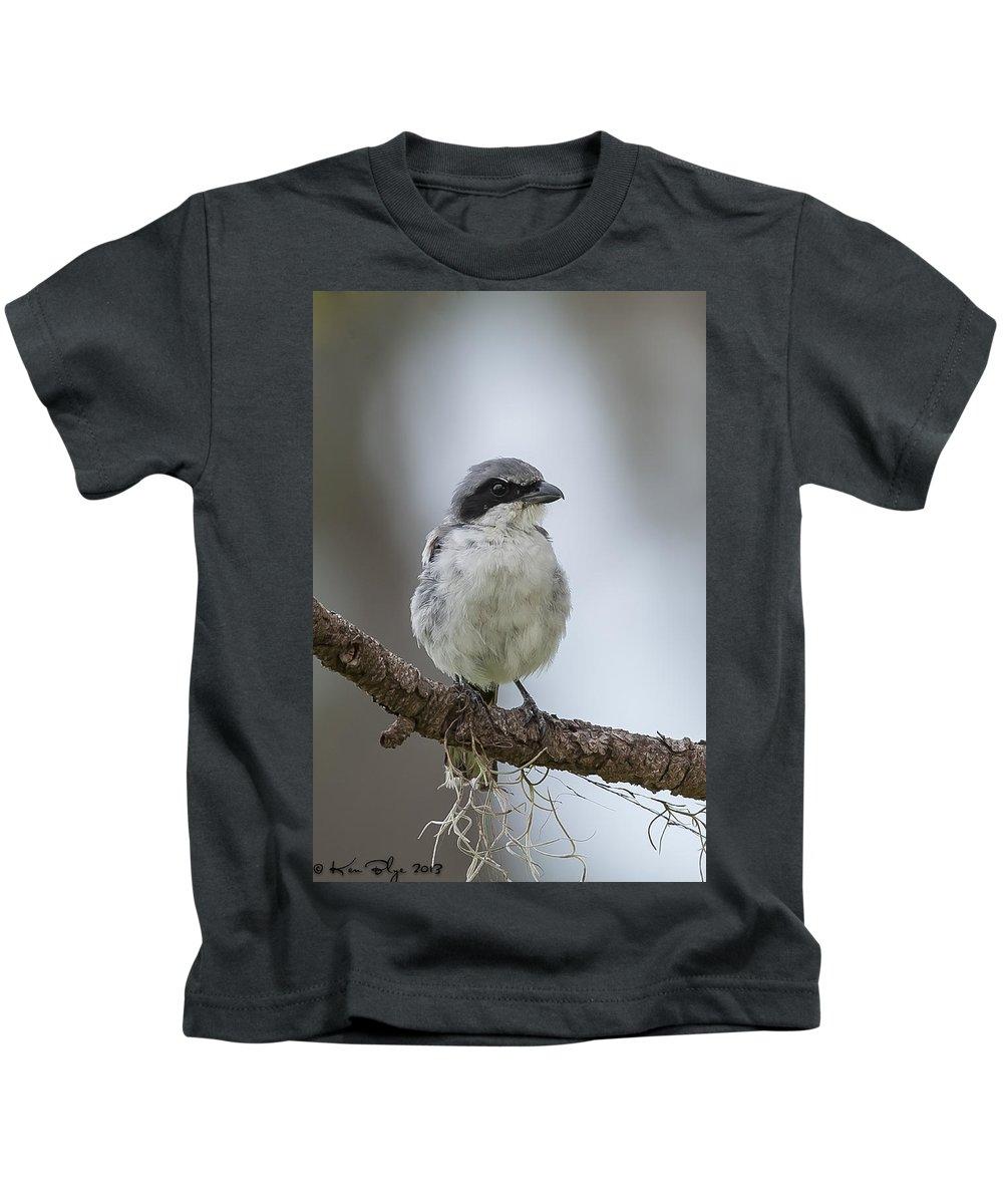 Loggerhead Kids T-Shirt featuring the photograph Loggerhead Shrike by Kenneth Blye