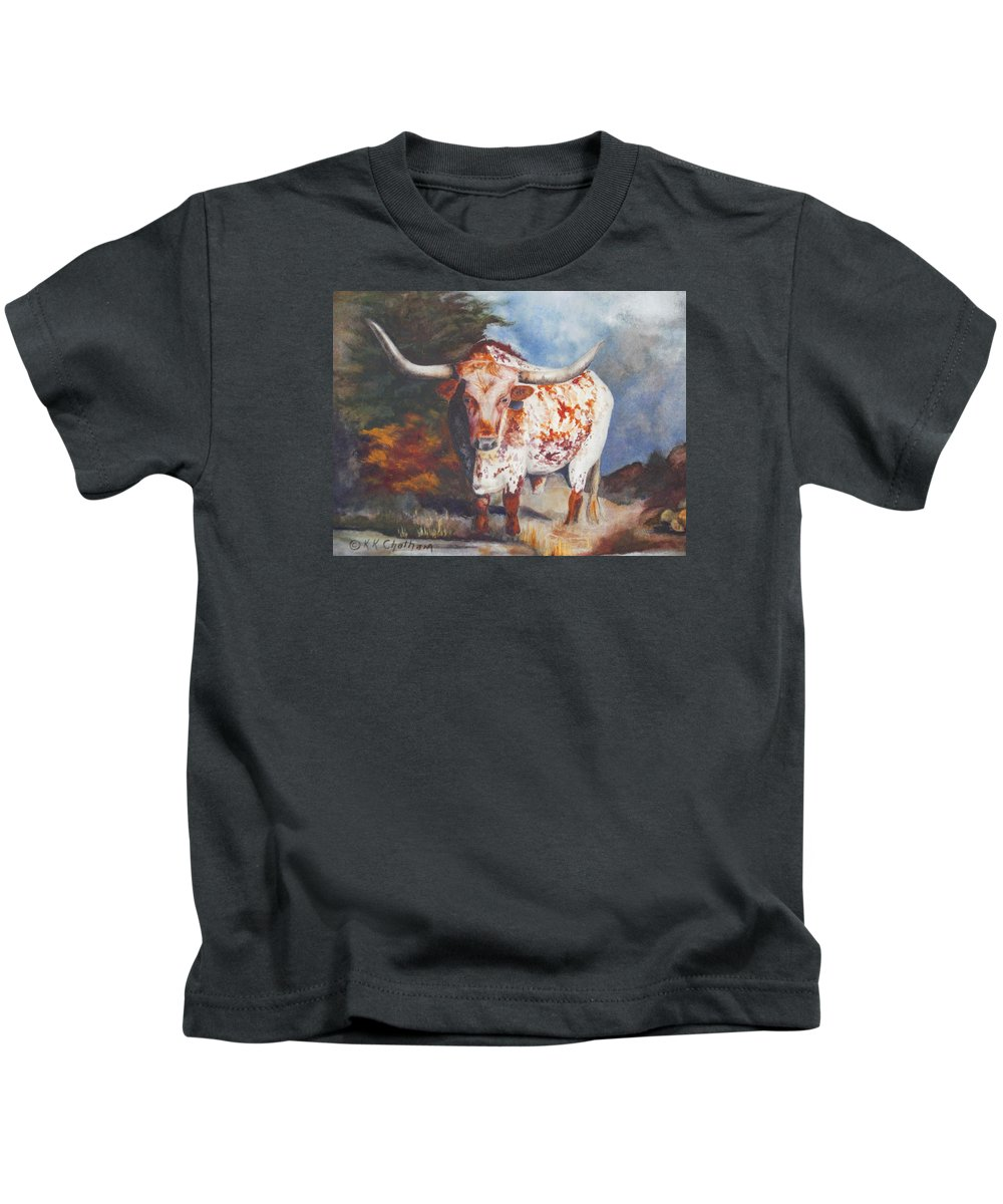 Longhorn Art Kids T-Shirt featuring the painting Lone Star Longhorn by Karen Kennedy Chatham