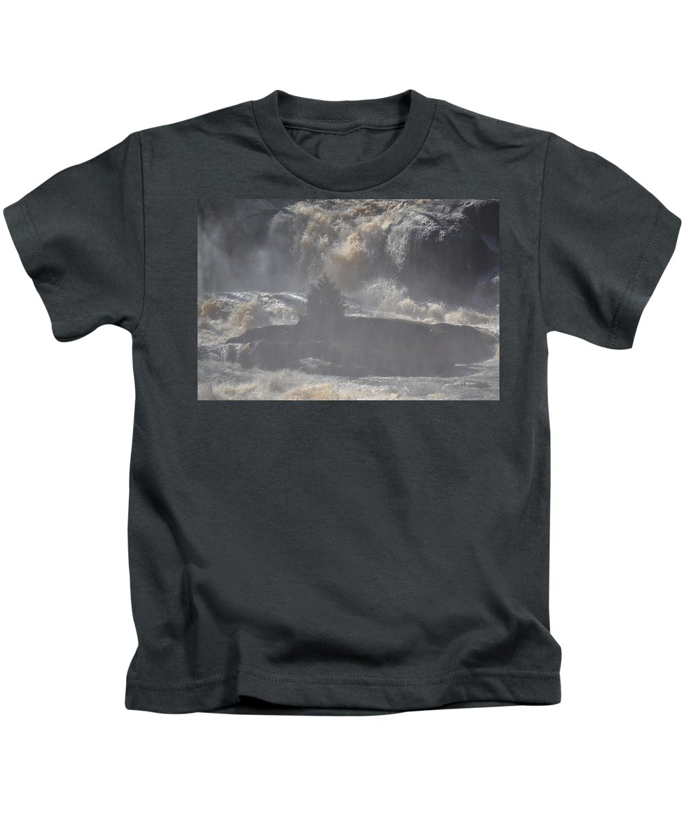 High Falls State Park Kids T-Shirt featuring the photograph Lone Tree In The Mist by Tara Potts