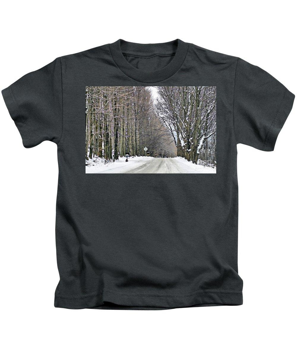 Winter Kids T-Shirt featuring the photograph Long Country Road by Deborah Benoit