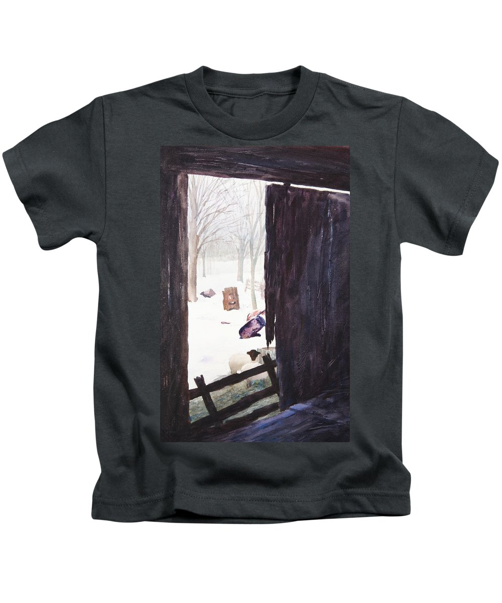 Landscape Kids T-Shirt featuring the painting Looking Out Looking In by Rachel Christine Nowicki