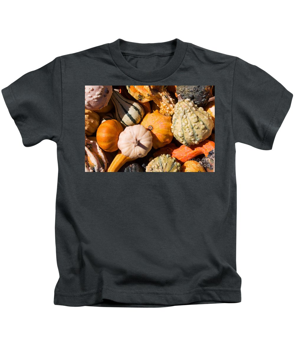 Gourd Kids T-Shirt featuring the photograph Lots Of Little Gourds by Barbara McMahon