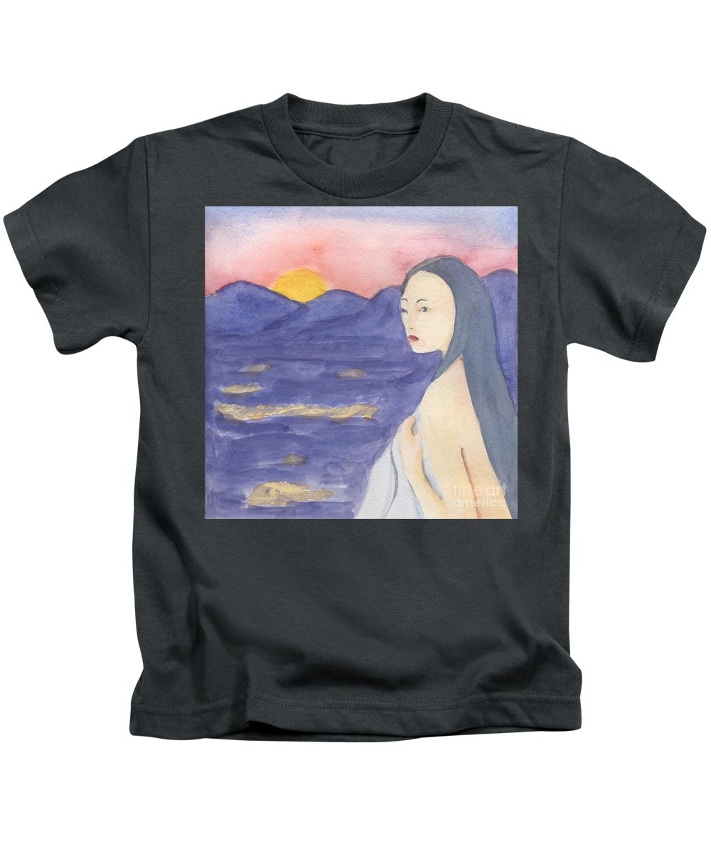 Landscape Kids T-Shirt featuring the painting Love by Lilibeth Andre