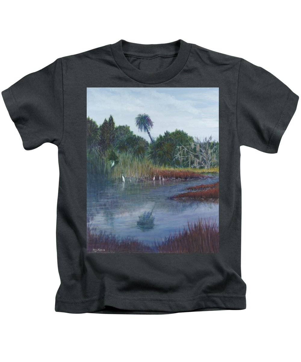 Landscape Kids T-Shirt featuring the painting Low Country Social by Ben Kiger