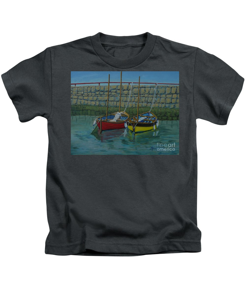 Rock Kids T-Shirt featuring the painting Low Tide by Anthony Dunphy