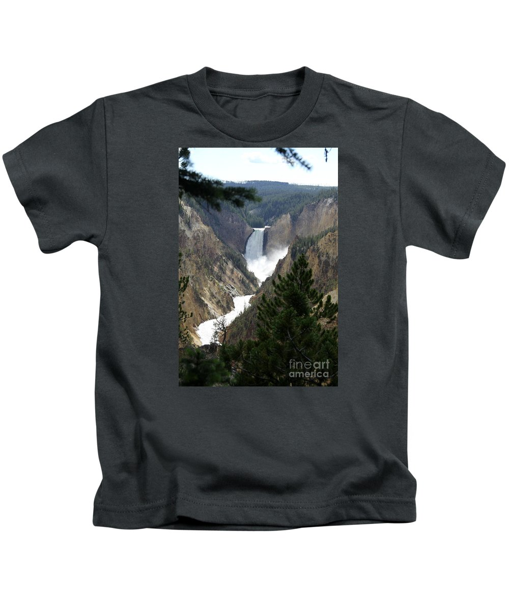 Lower Falls Kids T-Shirt featuring the photograph Lower Falls From Artist Point by Christiane Schulze Art And Photography