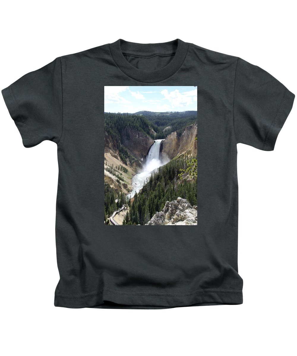 Lower Falls Kids T-Shirt featuring the photograph Lower Falls Yellowstone by Christiane Schulze Art And Photography