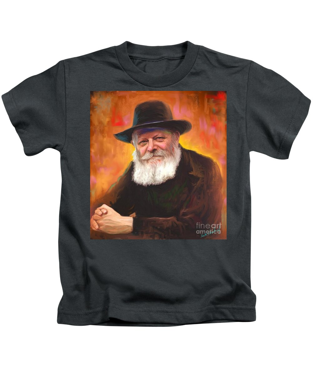 Lubavitcher Rebbe Kids T-Shirt featuring the painting Lubavitcher Rebbe by Sam Shacked