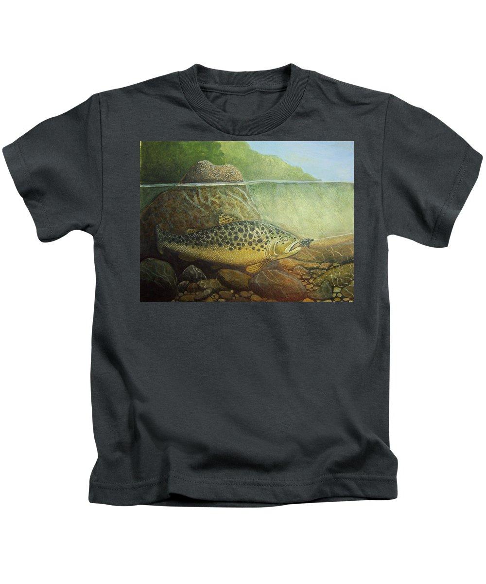 Rick Huotari Kids T-Shirt featuring the painting Lurking by Rick Huotari