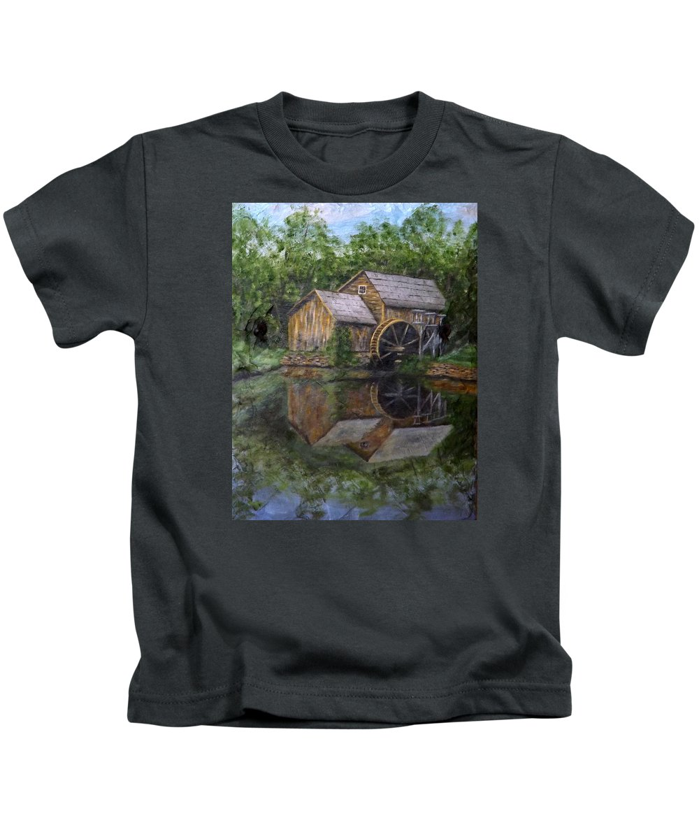 Mabry Mill Kids T-Shirt featuring the painting Mabry Mill Oil On Slate by Gino Didio