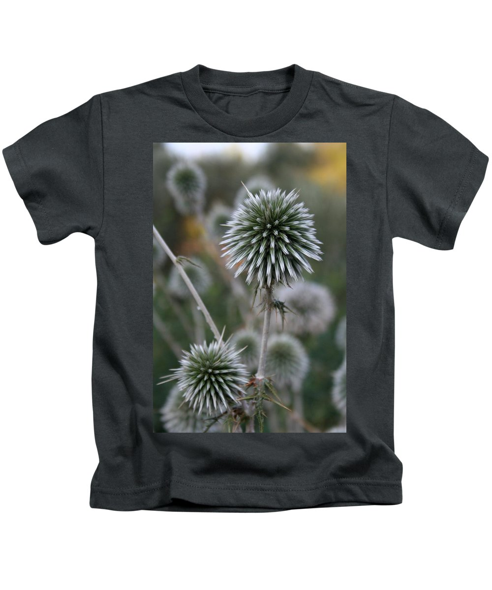Allium Sphaerocephalon Kids T-Shirt featuring the photograph Macro Seed Head Of Round Headed Garlic by Taiche Acrylic Art