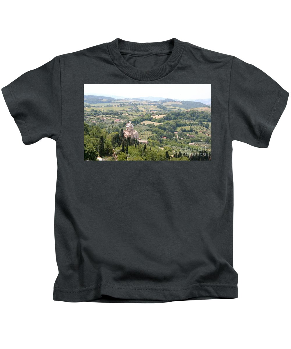Pilgrimage Church Kids T-Shirt featuring the photograph Madonna Di San Biagio Tuscany by Christiane Schulze Art And Photography