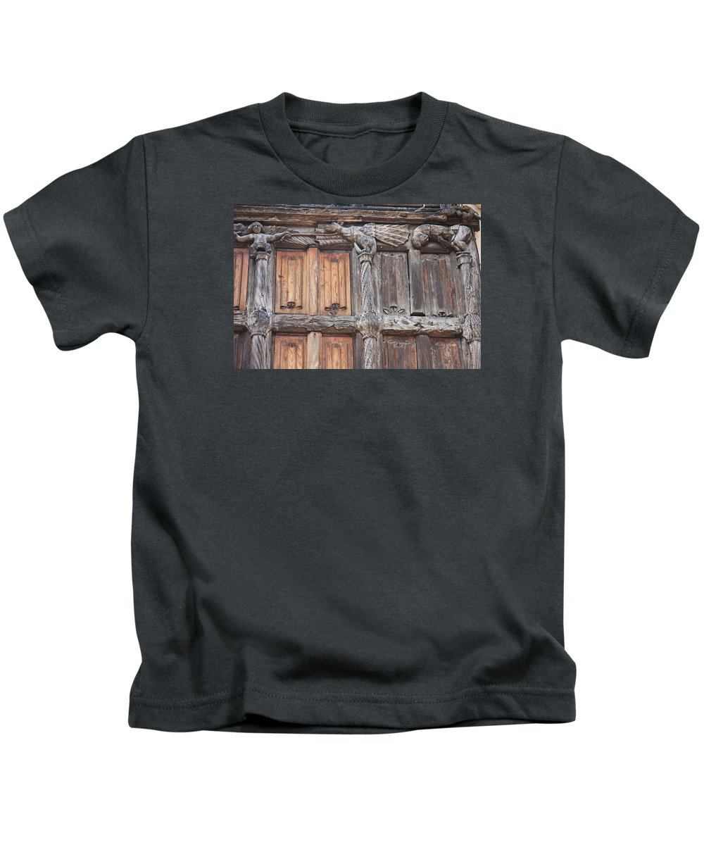 Wood Front Kids T-Shirt featuring the photograph Maison De Bois Macon - Detail Wood Front by Christiane Schulze Art And Photography