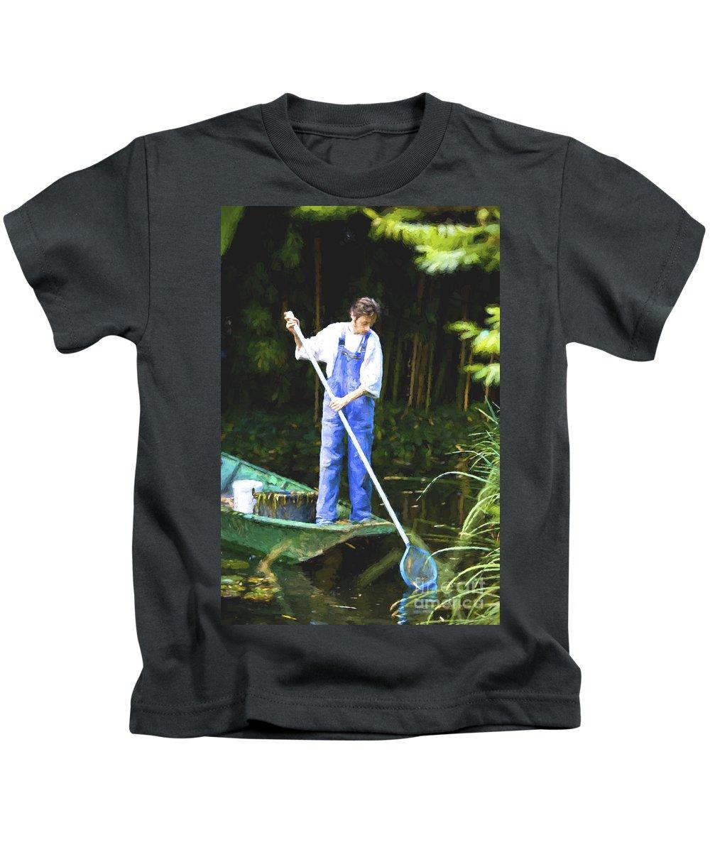 Monet's Garden Kids T-Shirt featuring the digital art Man in punt by Sheila Smart Fine Art Photography