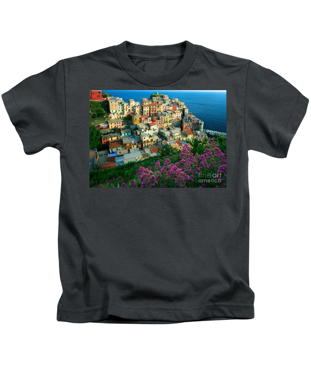 Architectural Kids T-Shirt featuring the photograph Manarola From Above by Inge Johnsson