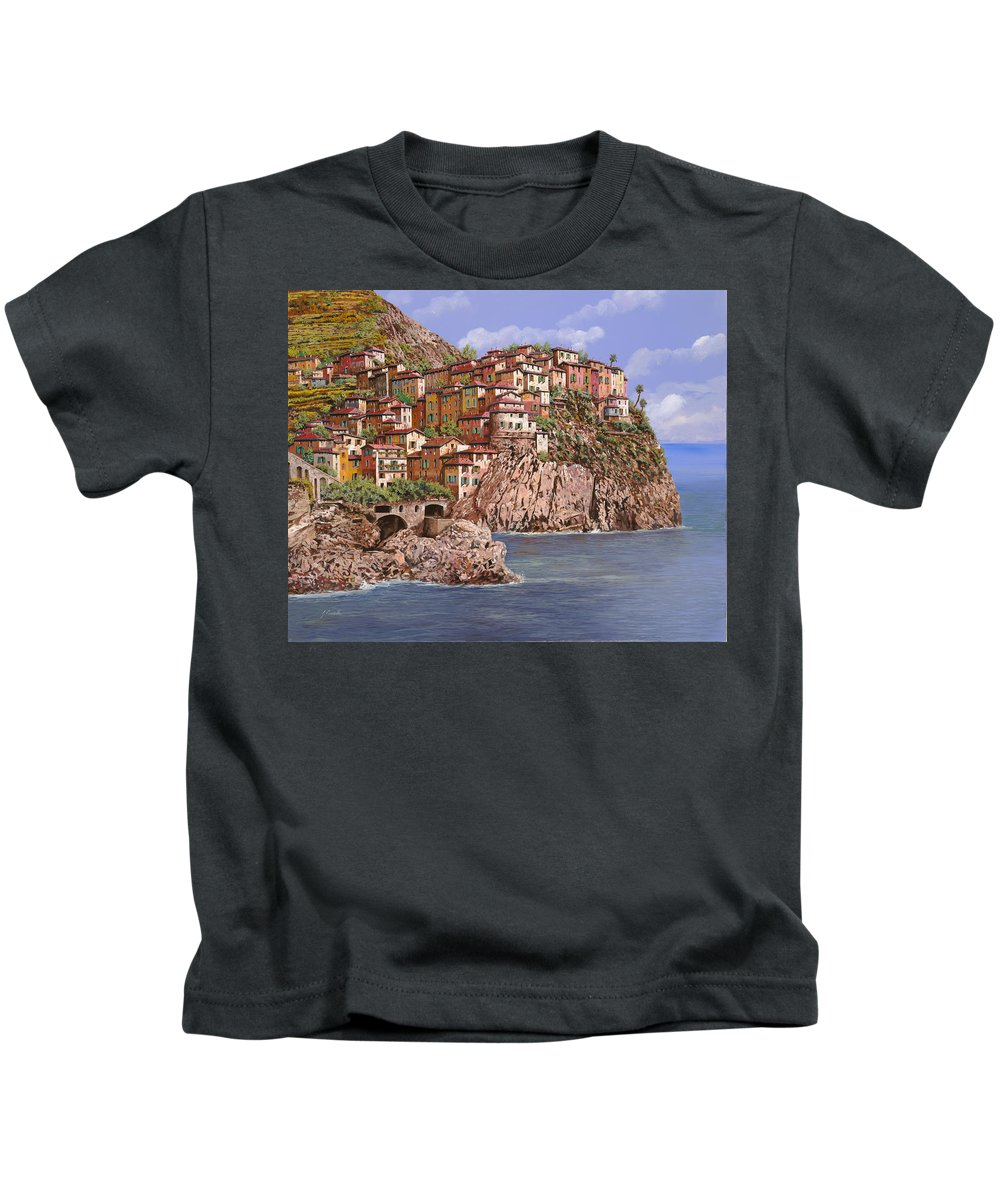 Seascape Kids T-Shirt featuring the painting Manarola  by Guido Borelli