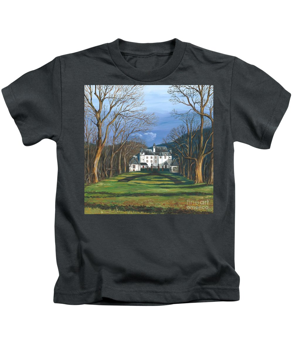 Landscape Kids T-Shirt featuring the painting Mansion In The Woods by Margaryta Yermolayeva