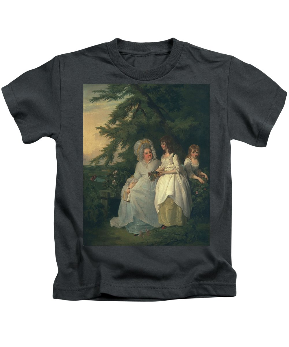 Female Kids T-Shirt featuring the painting Mary Margaret Wood And Two by Francis Wheatley