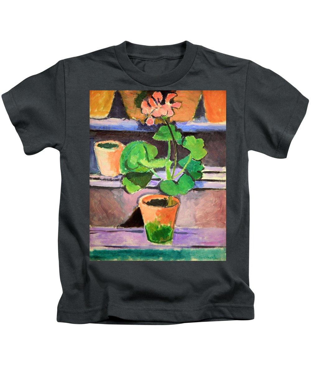 Pot Of Geraniums Kids T-Shirt featuring the photograph Matisse's Pot Of Geraniums by Cora Wandel