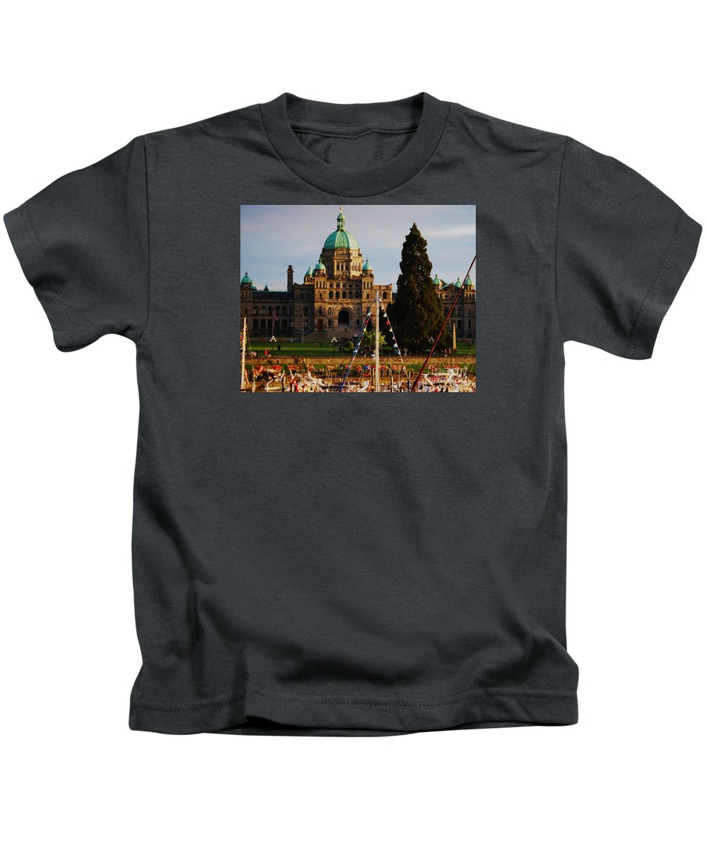 Victoria Photography British Columbia Photography Canada Photography Famous Building Photography Yacht Photography Legislative Building Photography Dome Photography Parliament Photography Architectural Photography Metal Frame Greeting Card Canvas Print Tote Bag Art Duvet Cover Art T Shirt Art Shower Curtain Art Kids T-Shirt featuring the photograph May Day In Victoria by Marcus Dagan