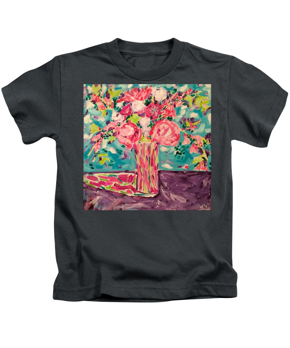 Kids T-Shirt featuring the painting Meant To Be Series  Piece 1 by Laura Kathleen