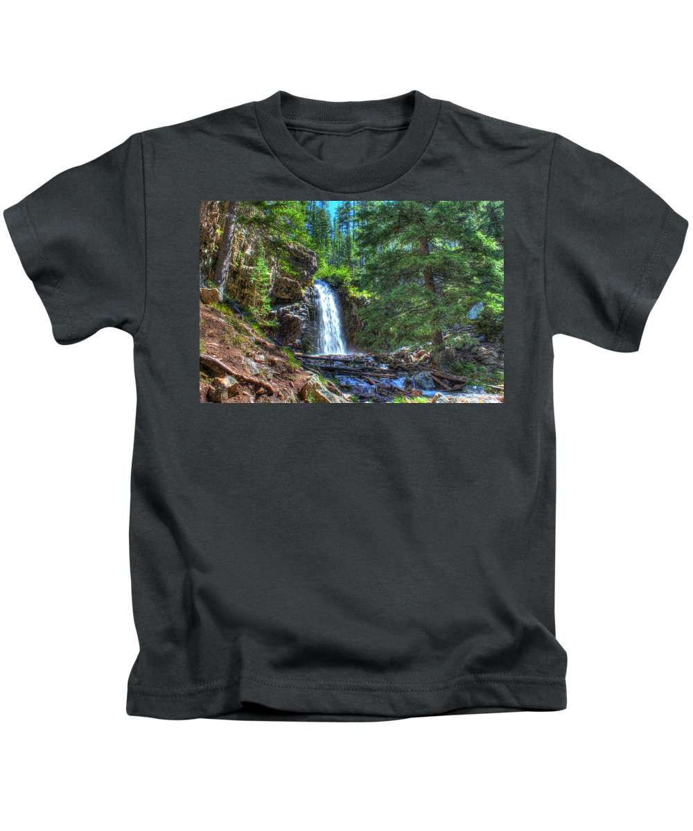 Spring Kids T-Shirt featuring the photograph Memorial Falls With Sky by John Lee