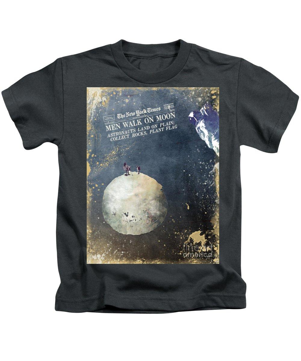 Astronaut Kids T-Shirt featuring the digital art Men Walk On Moon Astronauts by Justyna JBJart