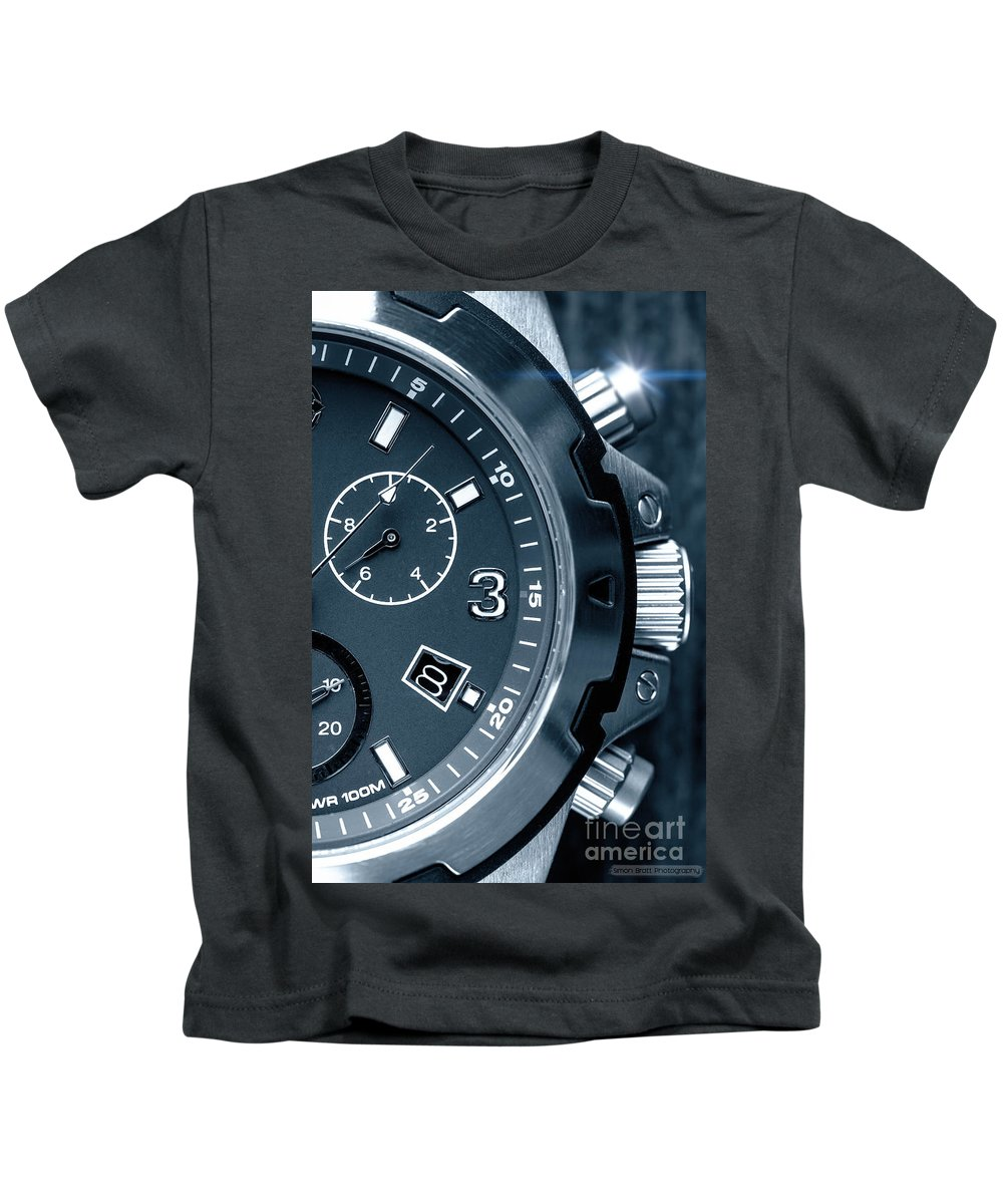 Watch Kids T-Shirt featuring the photograph Mens Watch Close Up by Simon Bratt Photography LRPS