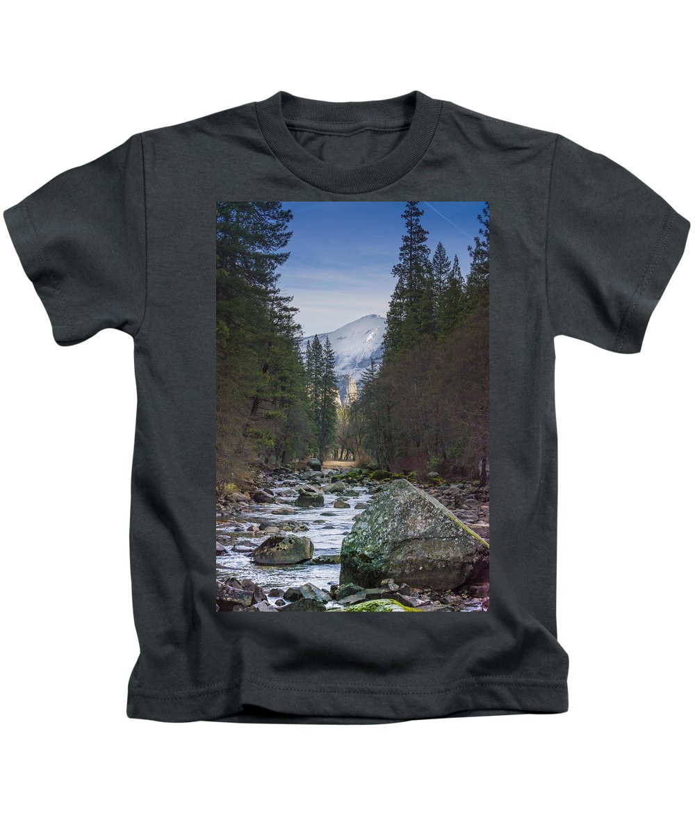 Yosemite Kids T-Shirt featuring the photograph Merced River by Doug Holck