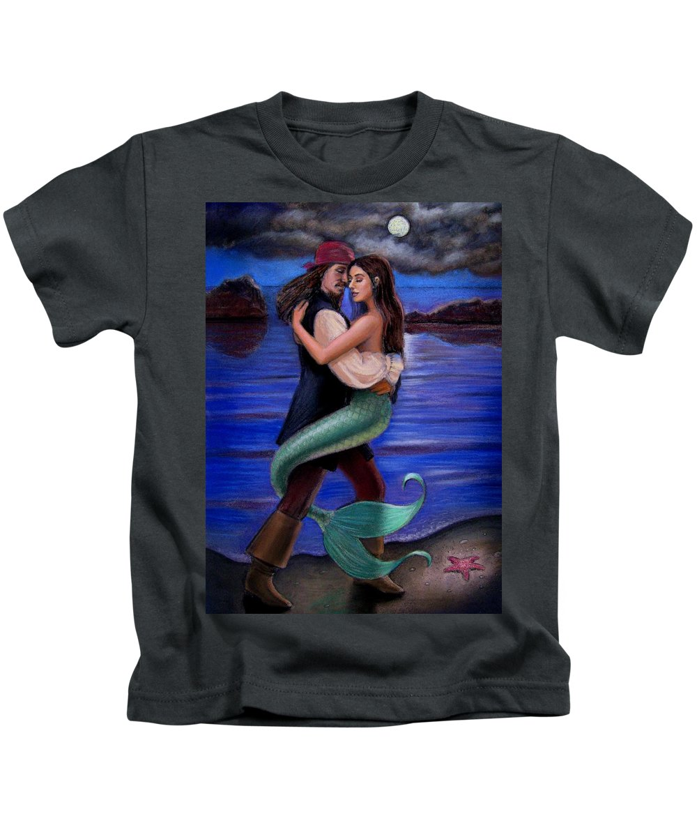 Mermaid Kids T-Shirt featuring the painting Mermaid And Pirate's Caribbean Love by Sue Halstenberg