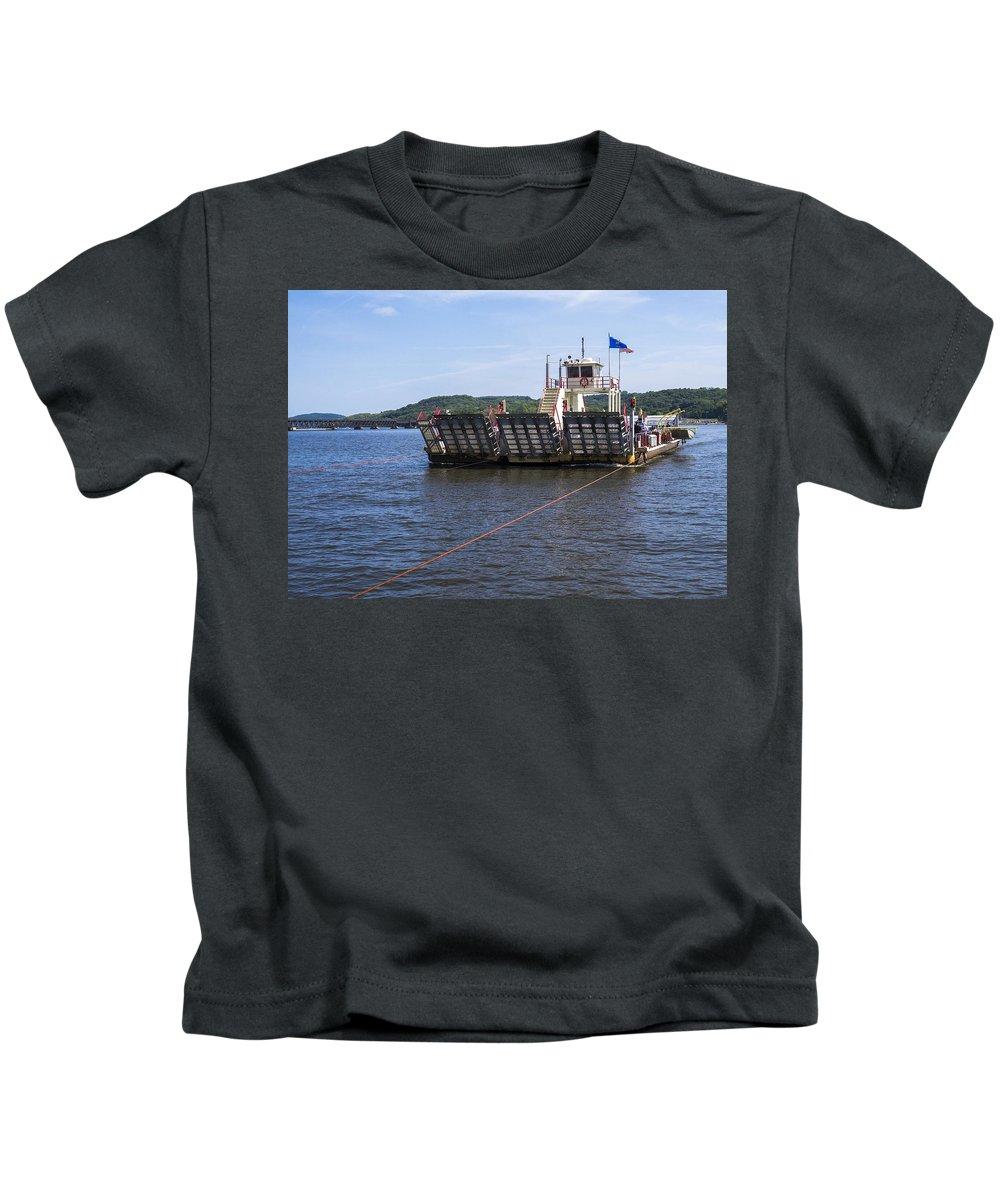 Ferry Kids T-Shirt featuring the photograph Merrimac Ferry - Wisconin by Steven Ralser