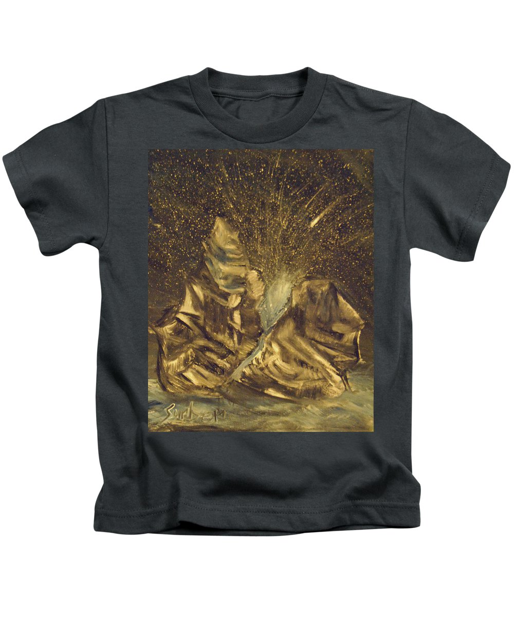 Meteor Kids T-Shirt featuring the painting Meteor Shower by Suzanne Surber