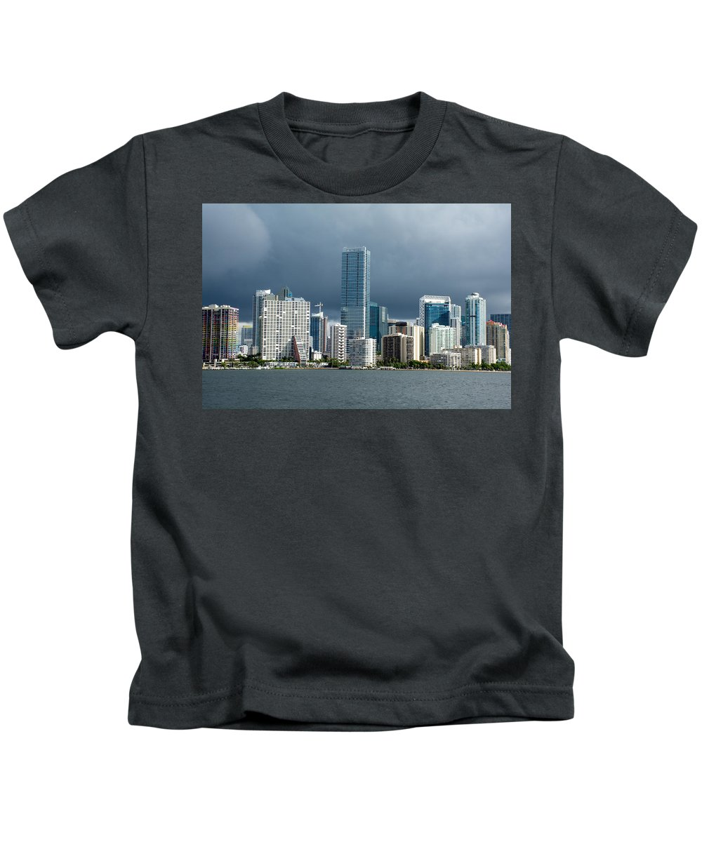 Clouds Kids T-Shirt featuring the photograph Miami Skyline Stormy Clouds by Manuel Lopez