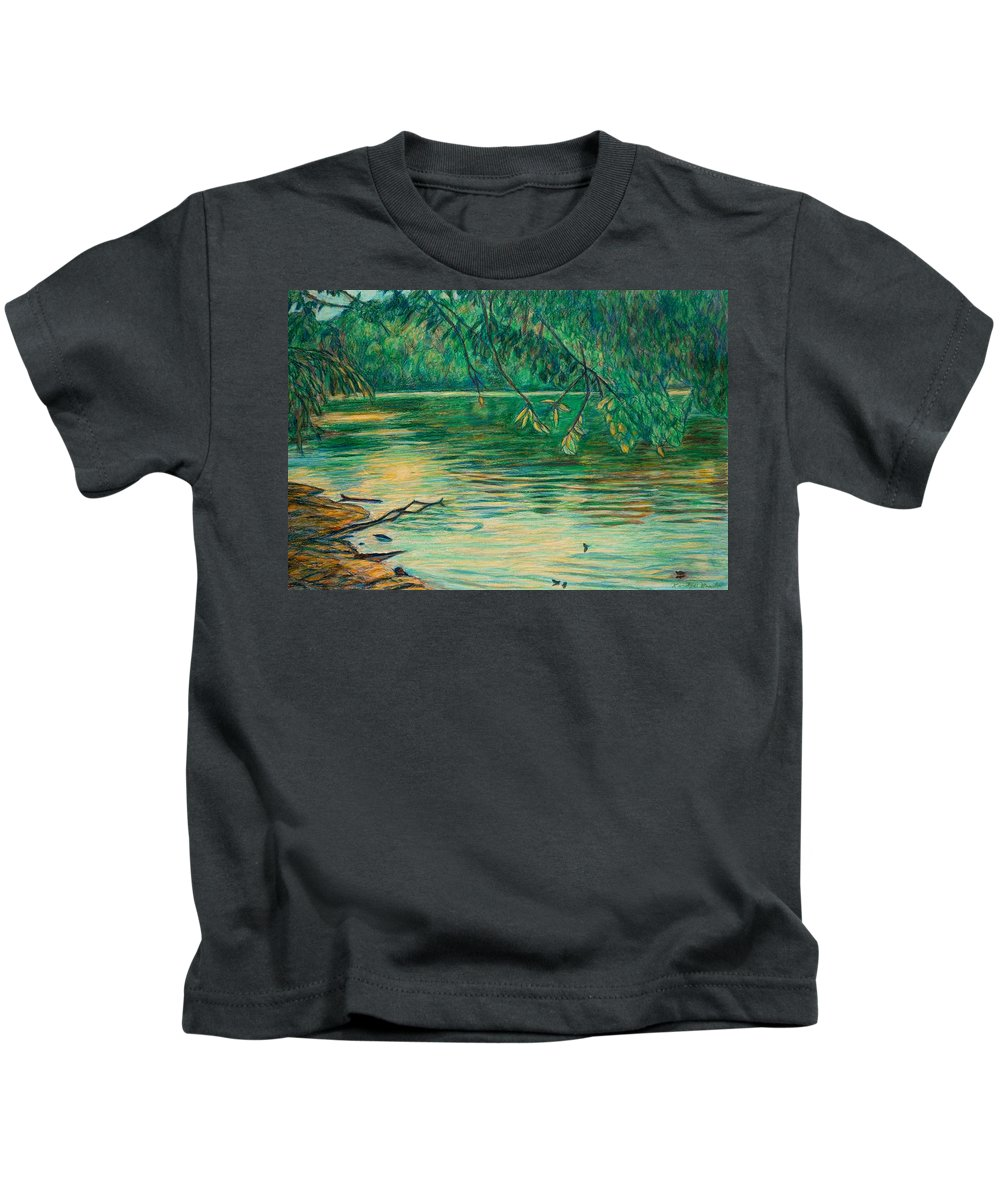 Landscape Kids T-Shirt featuring the painting Mid-spring On The New River by Kendall Kessler