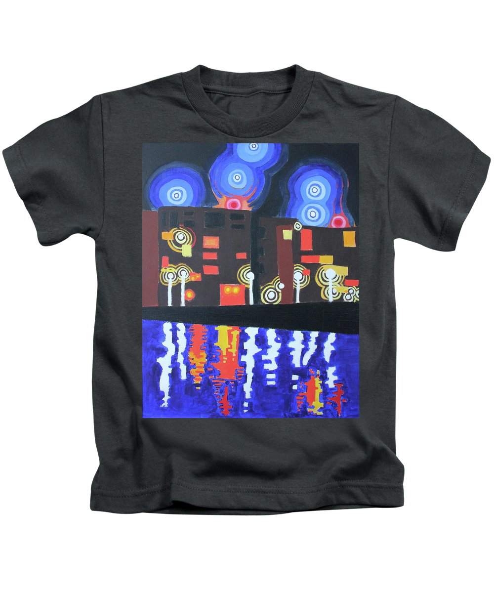 Night Kids T-Shirt featuring the painting Midnight At Tha Marina by Don Martinelli