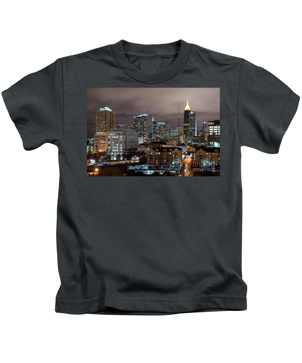 Atlanta Kids T-Shirt featuring the photograph Midtown Atlanta Skyline by Bill Cobb