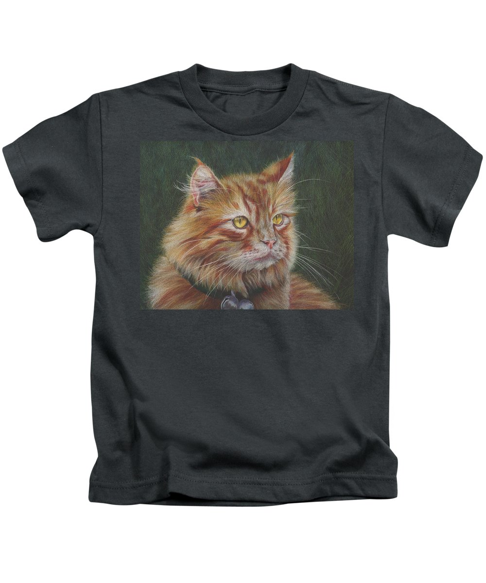 Cat Kids T-Shirt featuring the drawing Milo by Charne Gooch