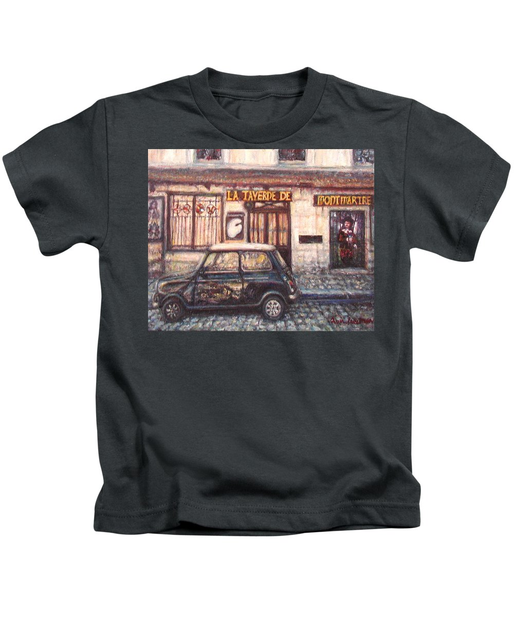 Quin Sweetman Kids T-Shirt featuring the painting Mini De Montmartre by Quin Sweetman