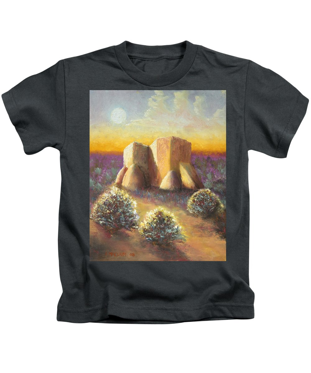 Landscape Kids T-Shirt featuring the painting Mission Imagined by Jerry McElroy