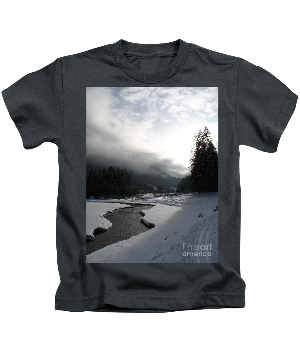 Valley Kids T-Shirt featuring the photograph Mist Over A Snowy Valley by Christiane Schulze Art And Photography