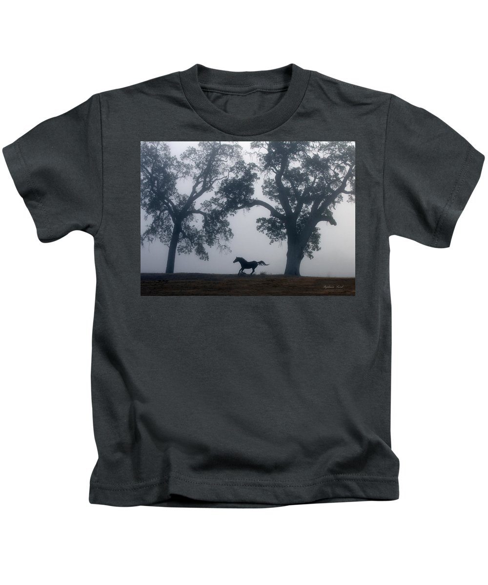 Horse Kids T-Shirt featuring the photograph Misty Morning by Stephanie Laird