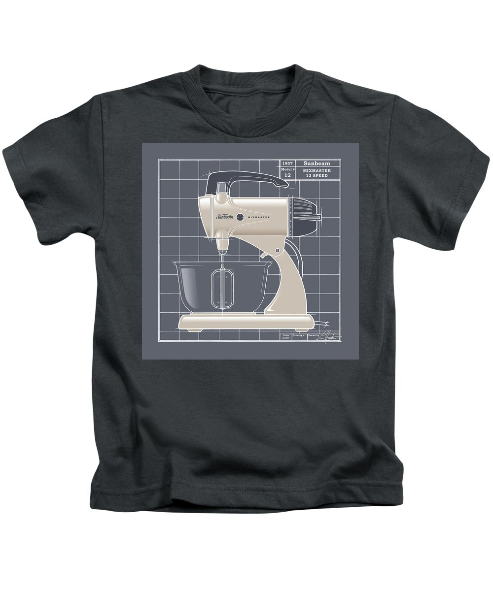 Mid Century Kids T-Shirt featuring the drawing Mixmaster - Ivory by Larry Hunter