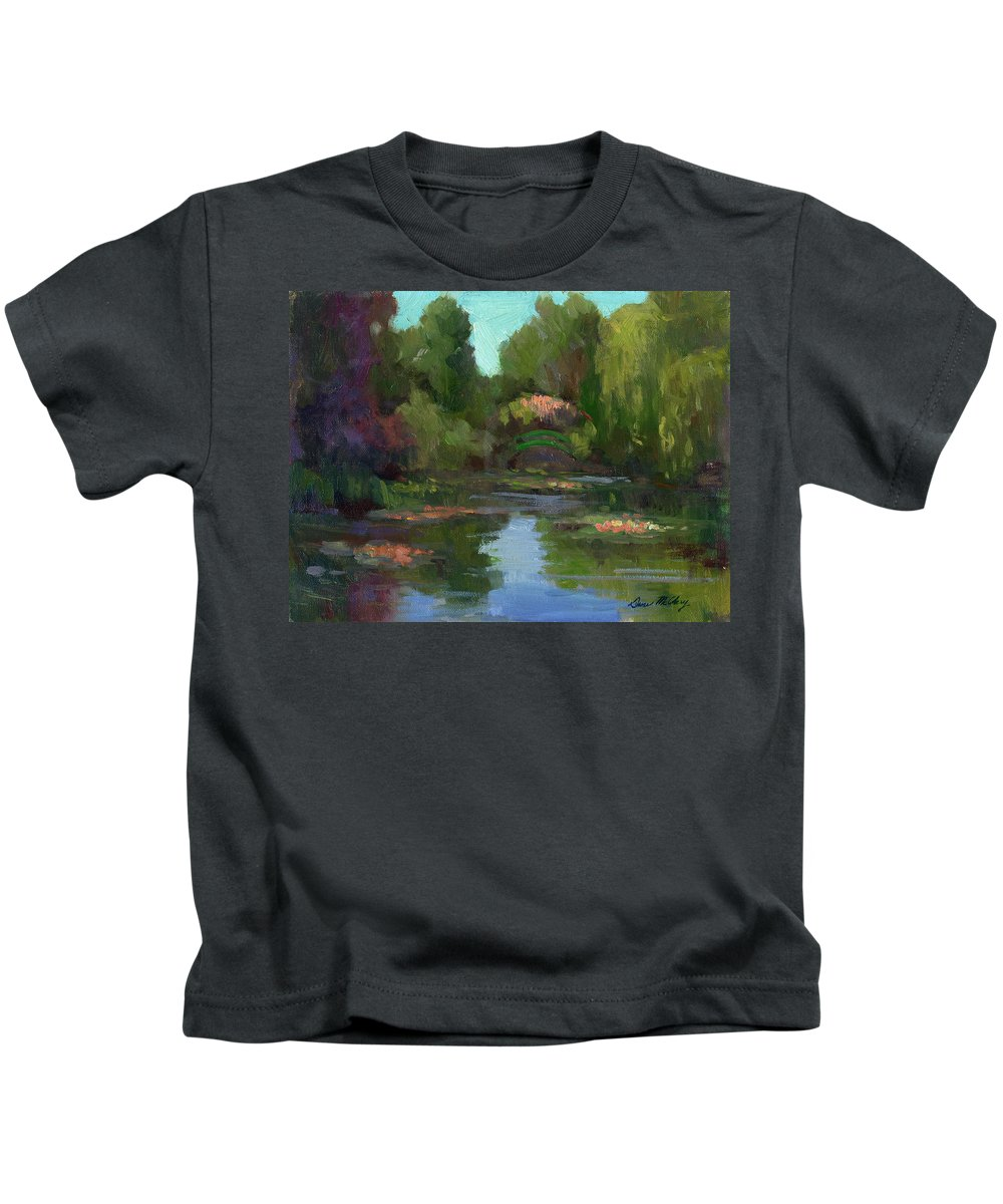Monet Kids T-Shirt featuring the painting Monet's Water Lily Pond by Diane McClary
