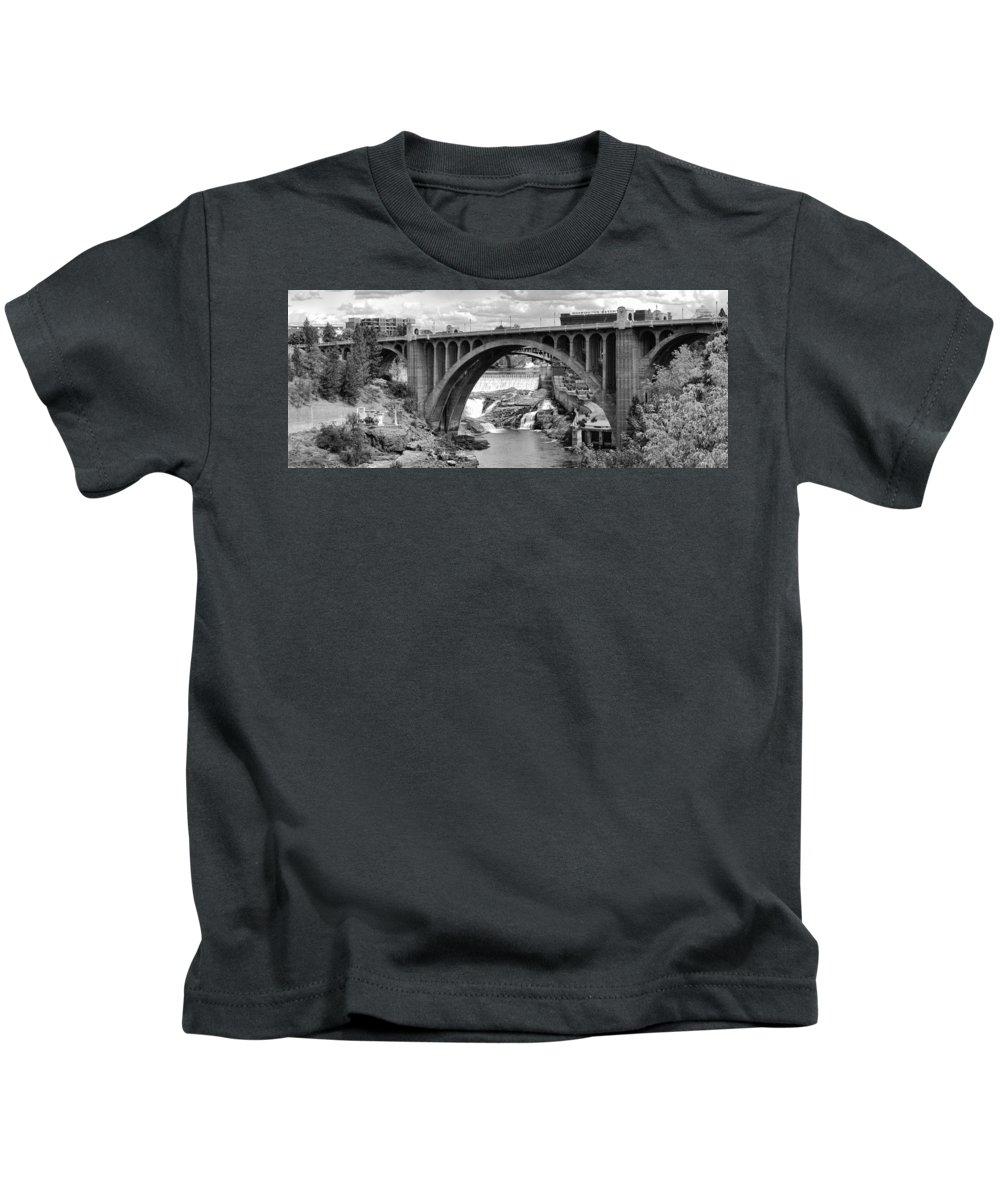 Spokane Kids T-Shirt featuring the photograph Monroe St Bridge Of Spokane by Daniel Hagerman