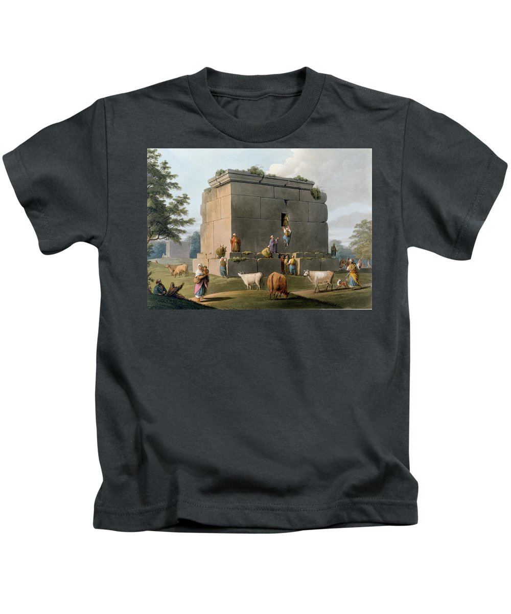 Monument Kids T-Shirt featuring the drawing Monument Between Tripoli And Tortosa by Luigi Mayer