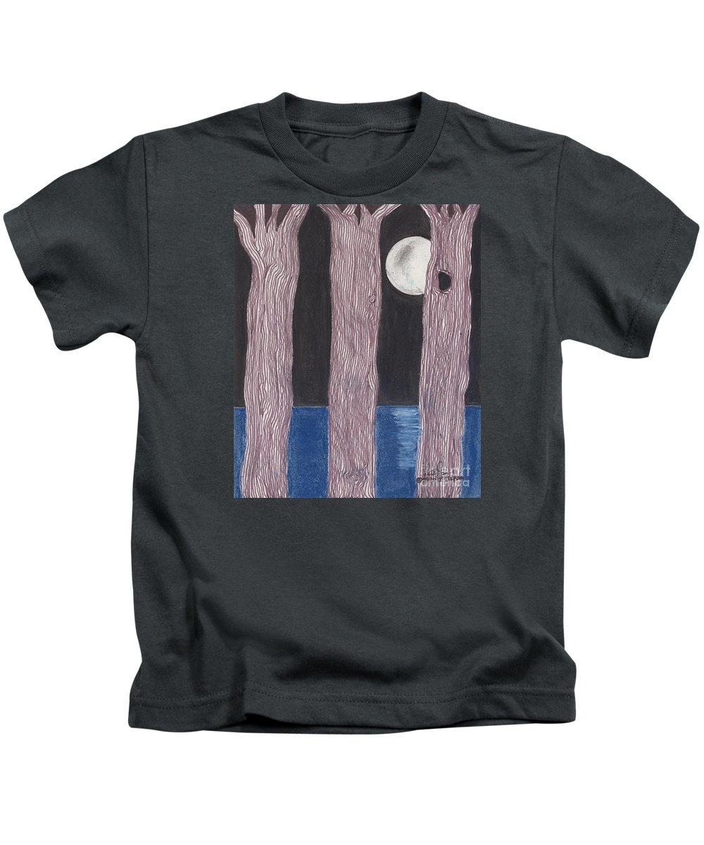 Trees Kids T-Shirt featuring the mixed media Moon Light by David Jackson