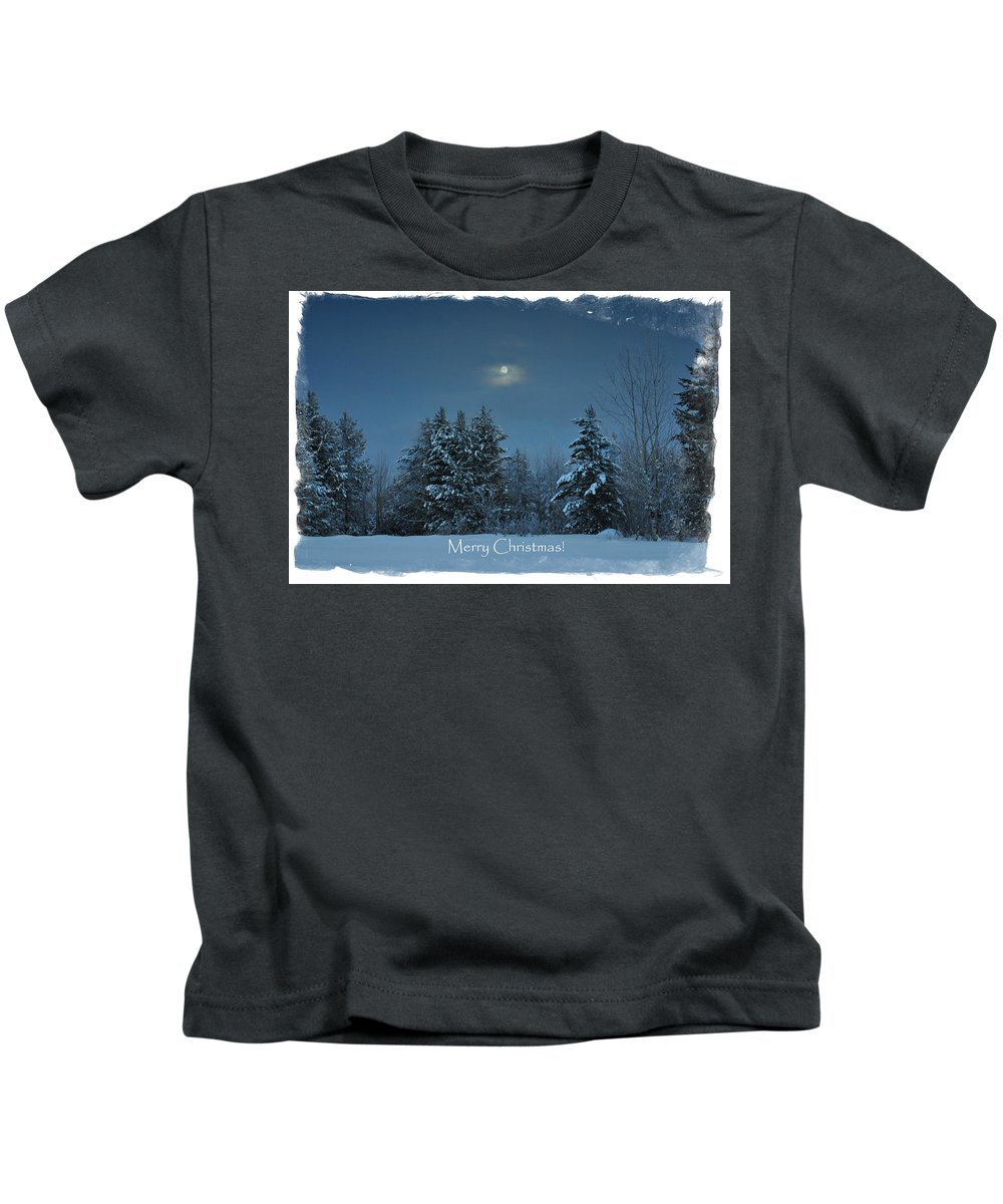 Island Park Kids T-Shirt featuring the photograph Moonlight Snow by Image Takers Photography LLC - Laura Morgan