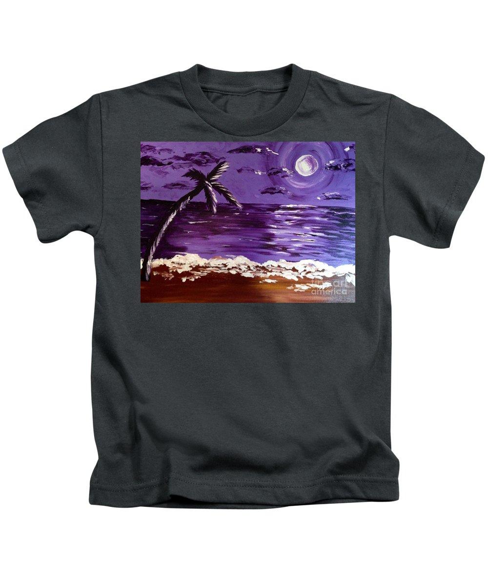 Moon Kids T-Shirt featuring the painting Moonlit Beach by Melissa Darnell Glowacki