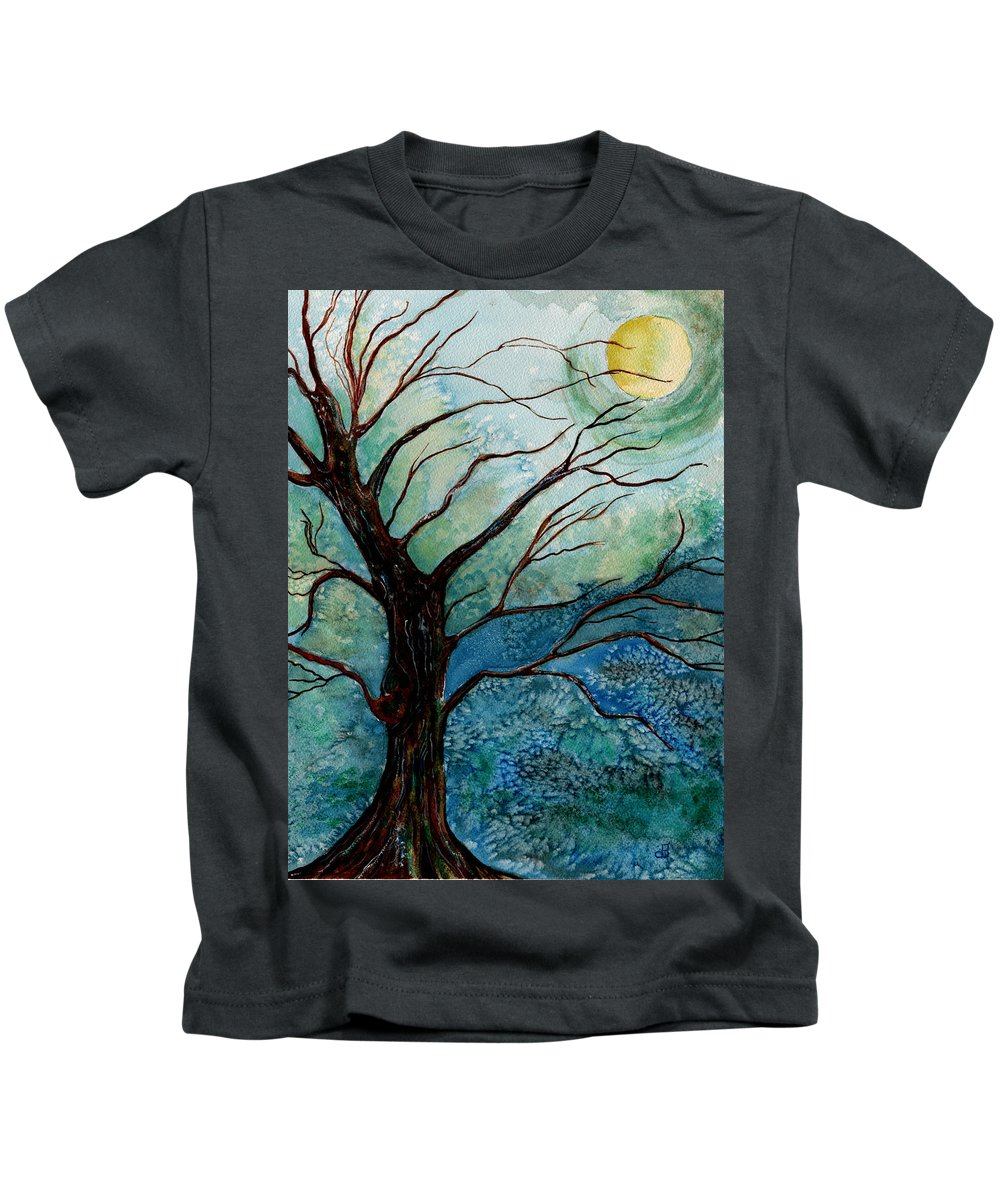 Landscape Kids T-Shirt featuring the painting Moonrise In The Wild Night by Brenda Owen