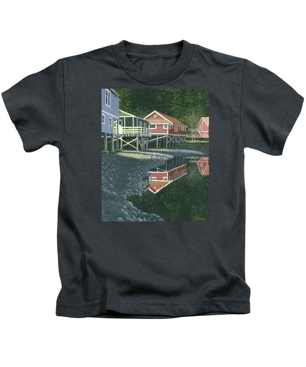 Landscape Kids T-Shirt featuring the painting Morning At Telegraph Cove by Gary Giacomelli